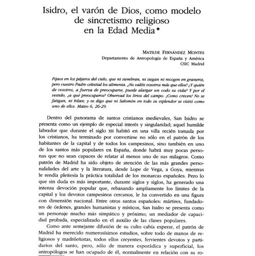 Isidro, el varón de Dios, como modelo de sincretismo religioso en la Edad Media