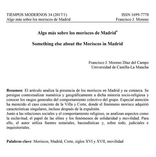 Algo más sobre los moriscos de Madrid
